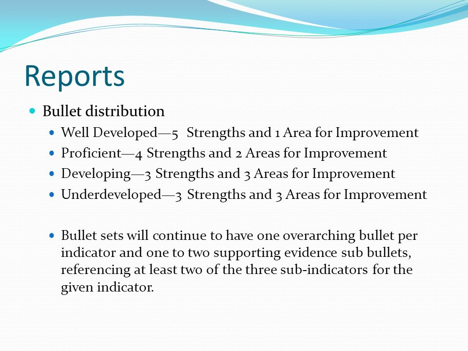 Reports Bullet distribution Well Developed5 Strengths and 1 Area for Improvement Proficient4 Strengths and 2 Areas for Improvement Developing3 Strengt