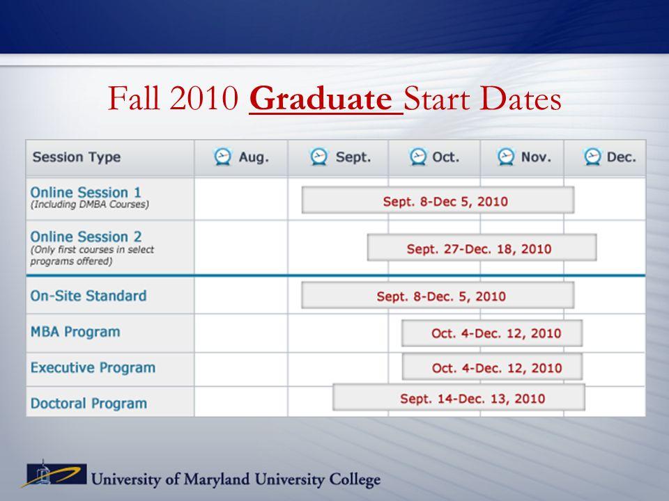 Fall 2010 Graduate Start Dates