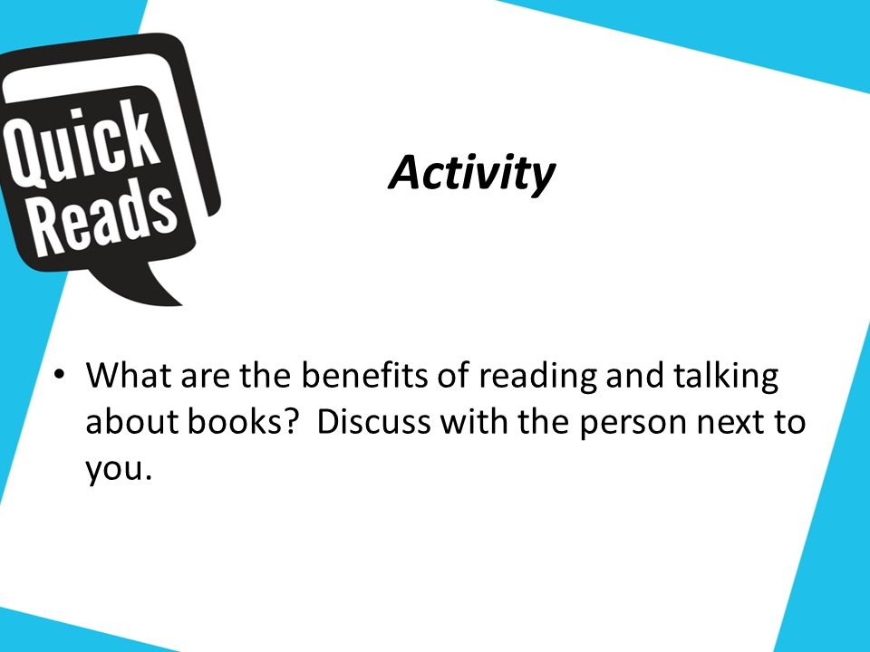 What are the benefits of reading and talking about books.