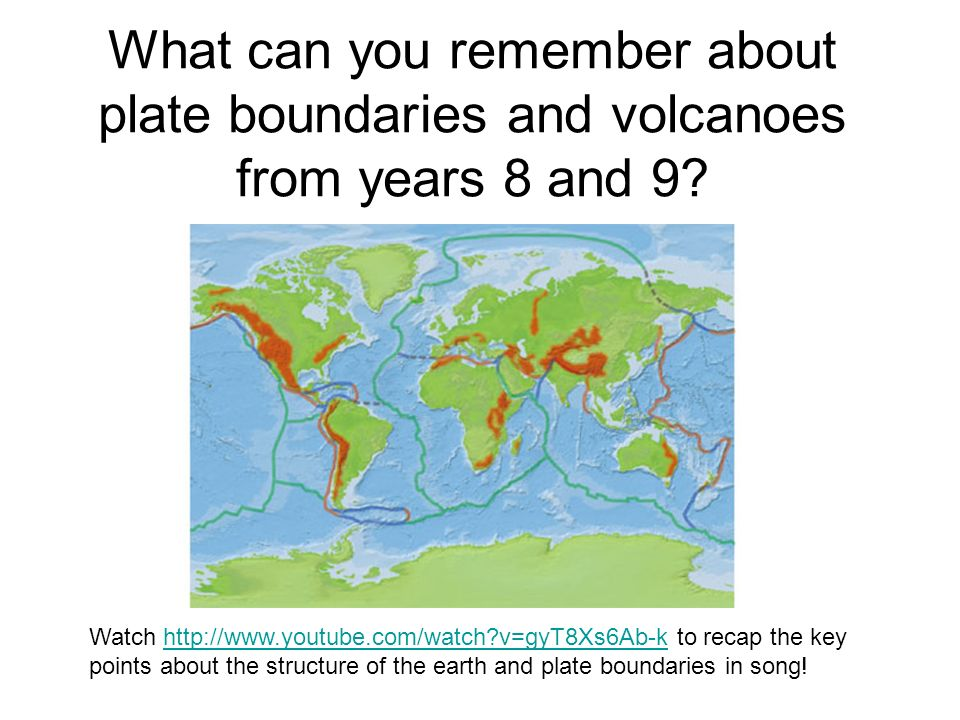 What can you remember about plate boundaries and volcanoes from years 8 and 9? Watch http://www.youtube.com/watch?v=gyT8Xs6Ab-k to recap the key point