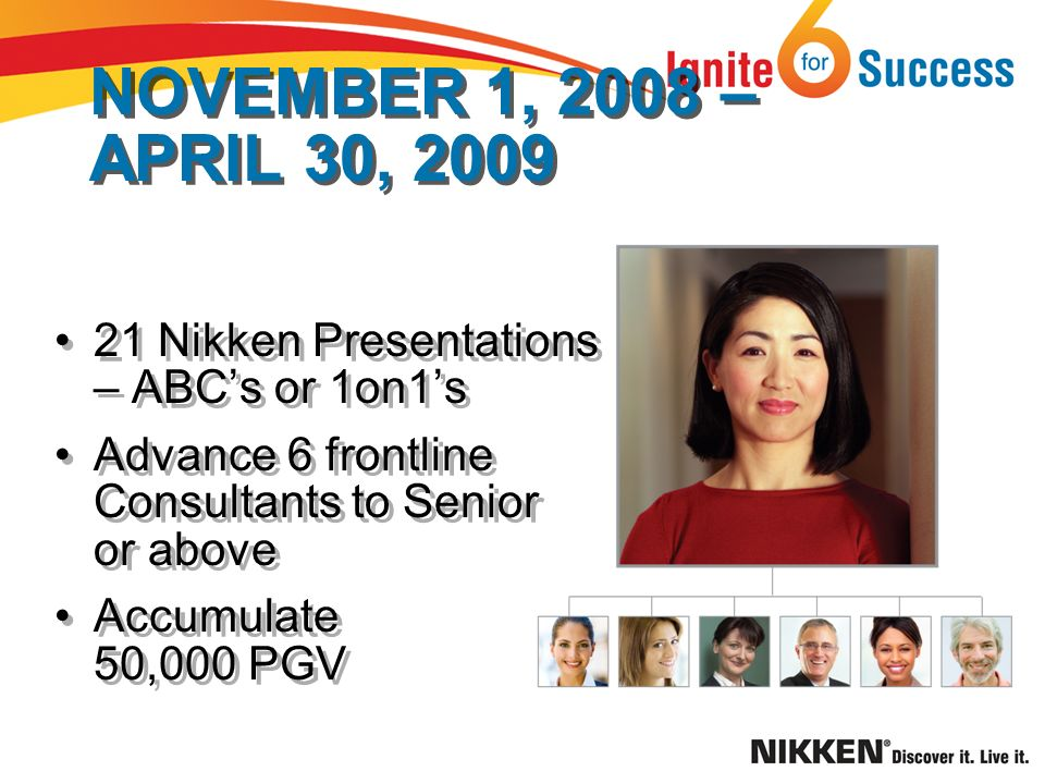 NOVEMBER 1, 2008 – APRIL 30, 2009 21 Nikken Presentations – ABCs or 1on1s Advance 6 frontline Consultants to Senior or above Accumulate 50,000 PGV 21 Nikken Presentations – ABCs or 1on1s Advance 6 frontline Consultants to Senior or above Accumulate 50,000 PGV