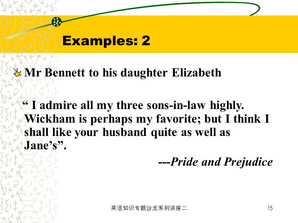 15 Examples: 2 Mr Bennett to his daughter Elizabeth I admire all my three sons-in-law highly. Wickham is perhaps my favorite; but I think I shall like
