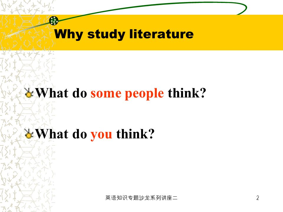 2 Why study literature What do some people think? What do you think?