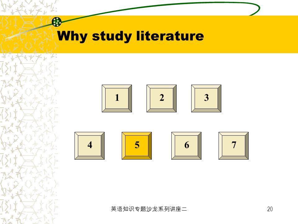 20 123 4567 Why study literature