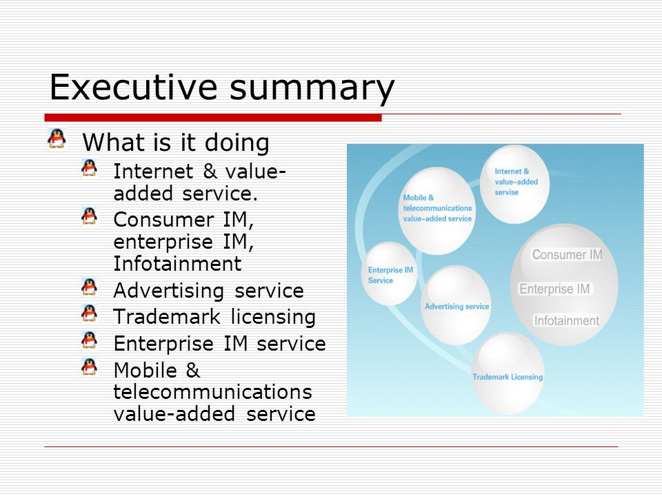 Executive summary What is it doing Internet & value- added service. Consumer IM, enterprise IM, Infotainment Advertising service Trademark licensing E