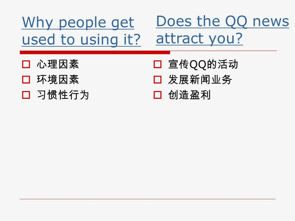 Why people get used to using it? Q Does the QQ news attract you?