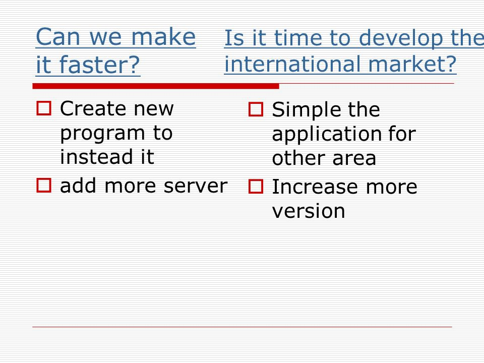 Can we make it faster? Create new program to instead it add more server Is it time to develop the international market? Simple the application for oth