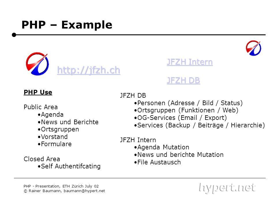 PHP – Example PHP - Presentation, ETH Zürich July 02 © Rainer Baumann, baumann@hypert.net JFZH Intern JFZH Intern JFZH DB JFZH DB http://jfzh.ch PHP U