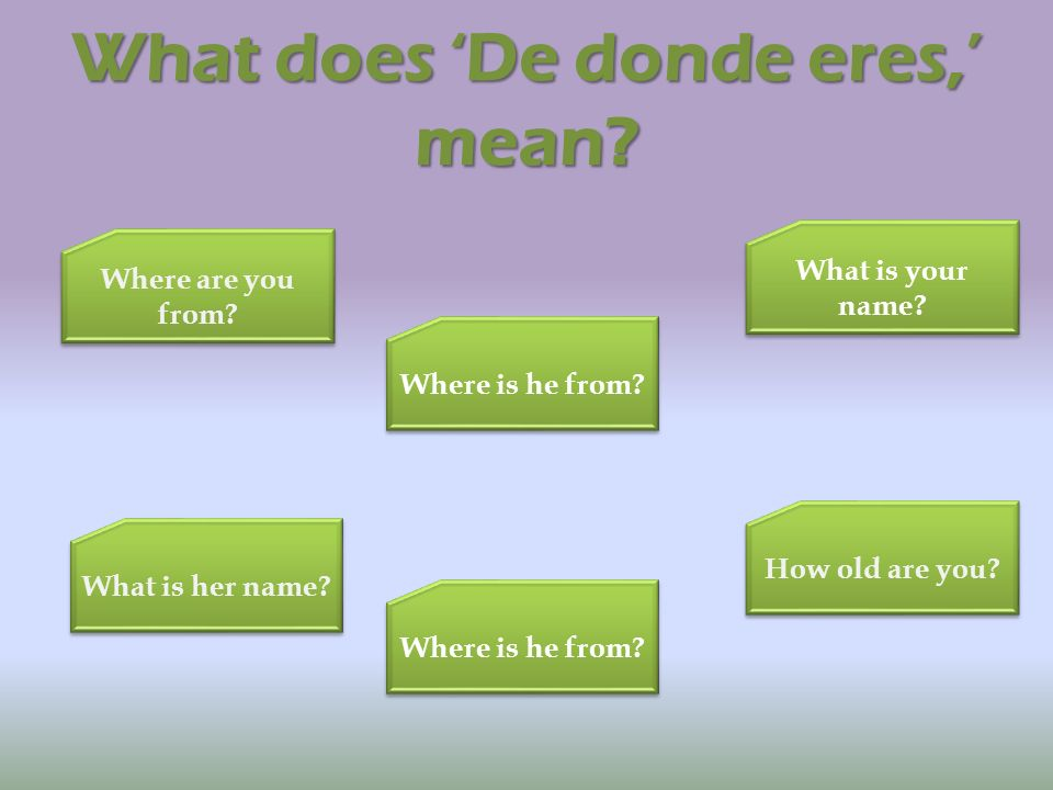 What does De donde eres, mean? Where are you from? Where are you from? What is your name? What is your name? Where is he from? How old are you? What i