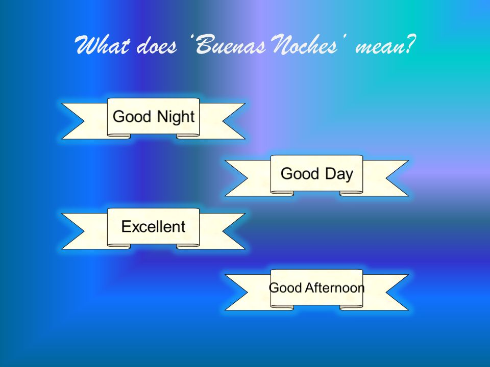 What does Buenas Noches mean?