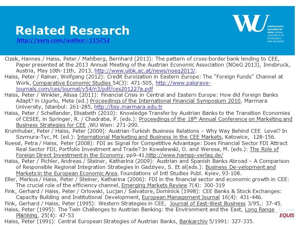 Related Research http://ssrn.com/author=115752 http://ssrn.com/author=115752 Cizek, Hannes / Haiss, Peter / Mahlberg, Bernhard (2013): The pattern of