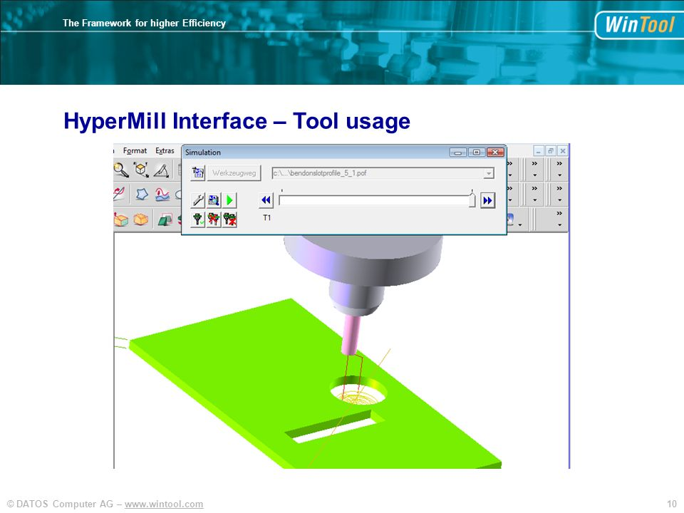 10© DATOS Computer AG – www.wintool.com The Framework for higher Efficiency HyperMill Interface – Tool usage
