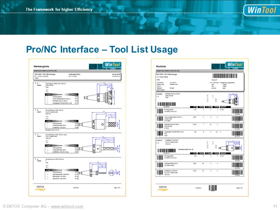 11© DATOS Computer AG – www.wintool.com The Framework for higher Efficiency Pro/NC Interface – Tool List Usage