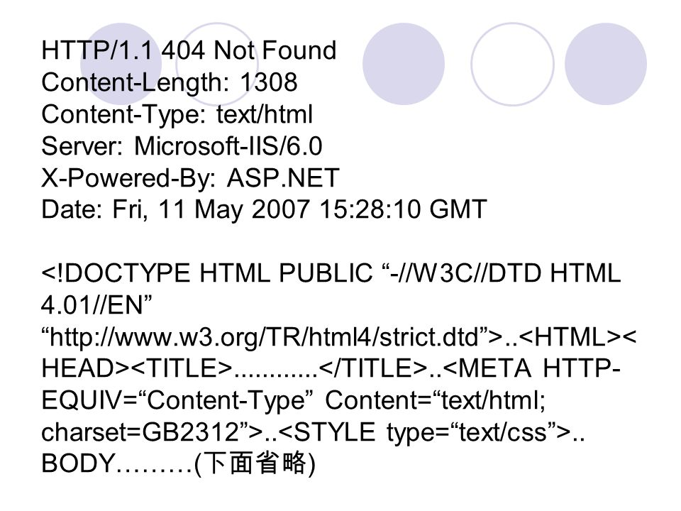 HTTP/1.1 404 Not Found Content-Length: 1308 Content-Type: text/html Server: Microsoft-IIS/6.0 X-Powered-By: ASP.NET Date: Fri, 11 May 2007 15:28:10 GMT....................