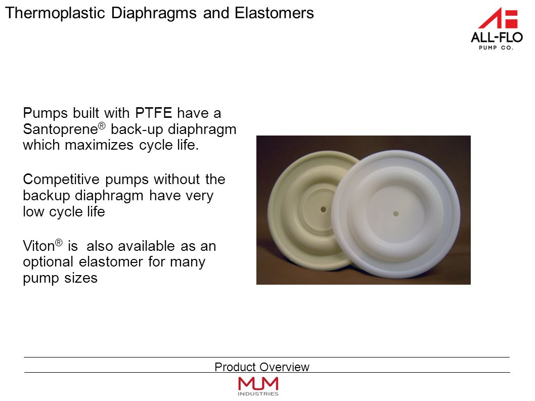 Thermoplastic Diaphragms and Elastomers Pumps built with PTFE have a Santoprene ® back-up diaphragm which maximizes cycle life.
