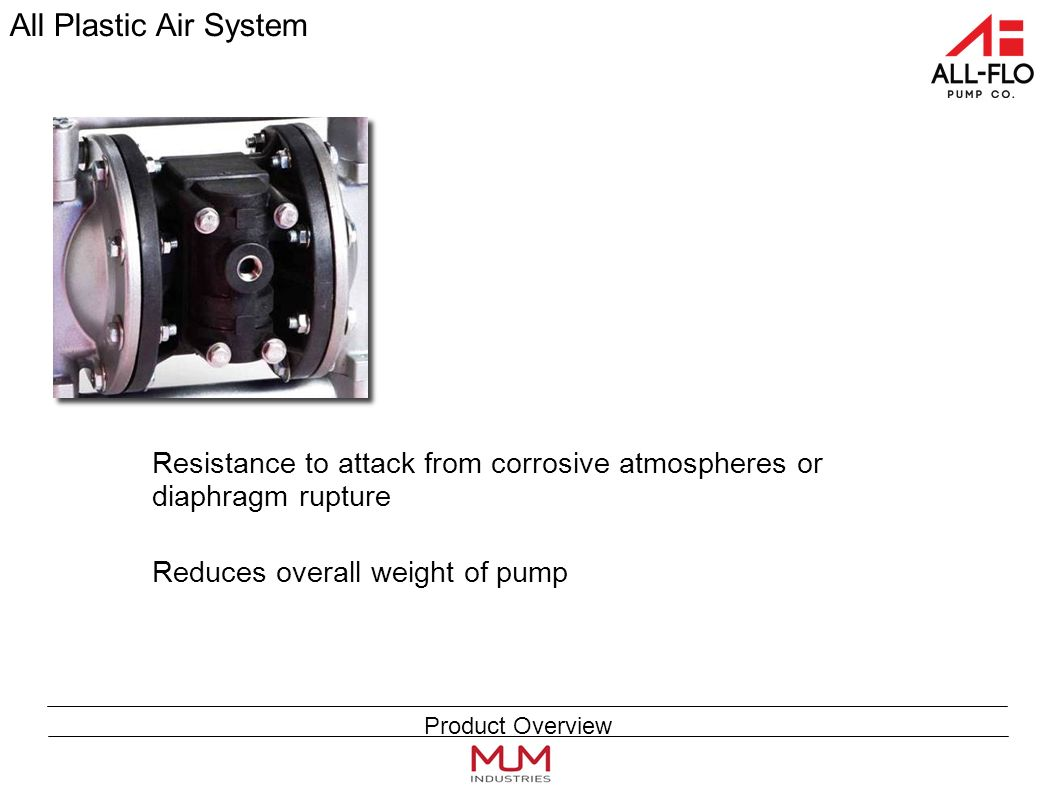 All Plastic Air System Resistance to attack from corrosive atmospheres or diaphragm rupture Reduces overall weight of pump Product Overview