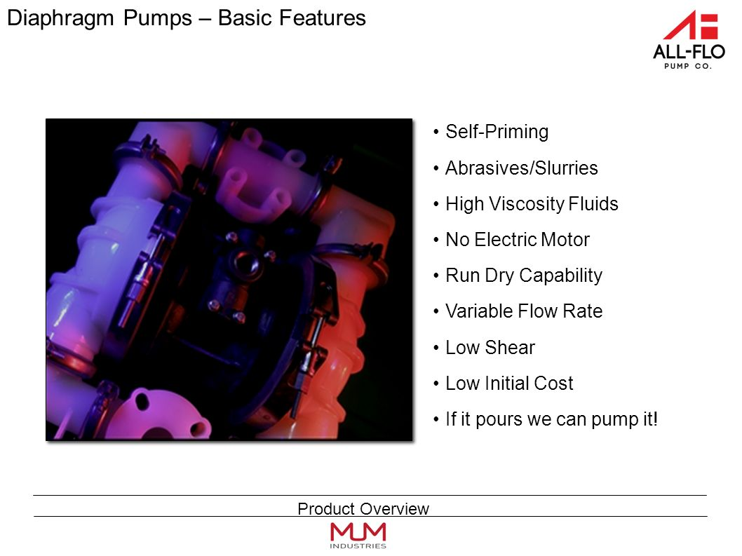 Diaphragm Pumps – Basic Features Self-Priming Abrasives/Slurries High Viscosity Fluids No Electric Motor Run Dry Capability Variable Flow Rate Low Shear Low Initial Cost If it pours we can pump it.