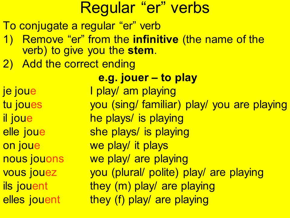 Regular er verbs To conjugate a regular er verb 1)Remove er from the infinitive (the name of the verb) to give you the stem. 2)Add the correct ending