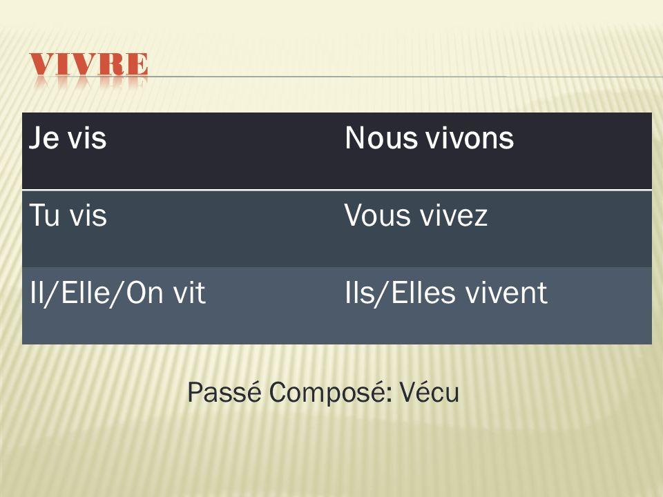 Je visNous vivons Tu visVous vivez Il/Elle/On vitIls/Elles vivent Passé Composé: Vécu