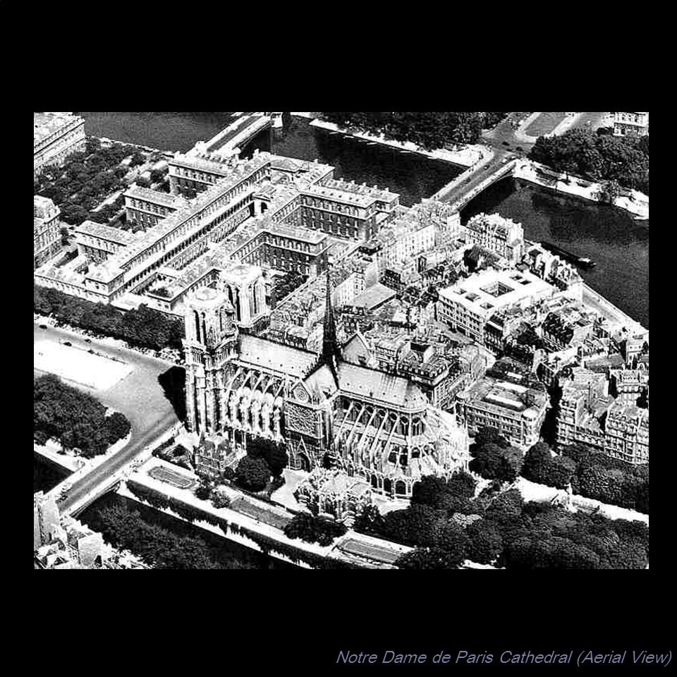 Notre Dame de Paris Cathedral (Aerial View)