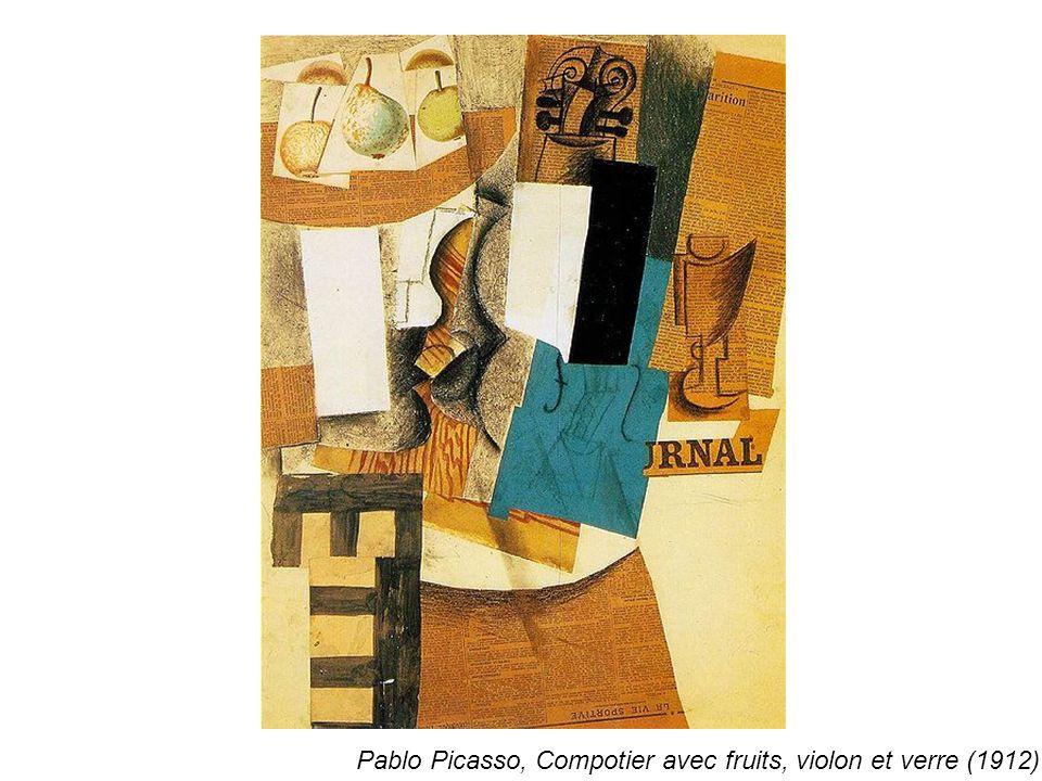 Pablo Picasso, Compotier avec fruits, violon et verre (1912)