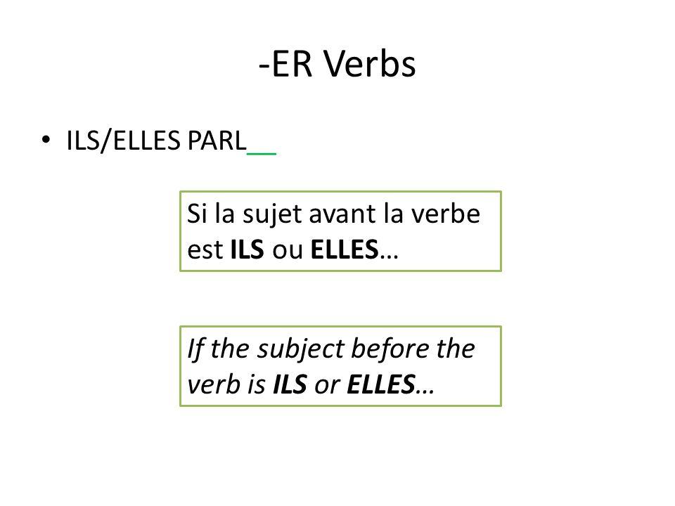 -ER Verbs ILS/ELLES PARL__ Si la sujet avant la verbe est ILS ou ELLES… If the subject before the verb is ILS or ELLES…