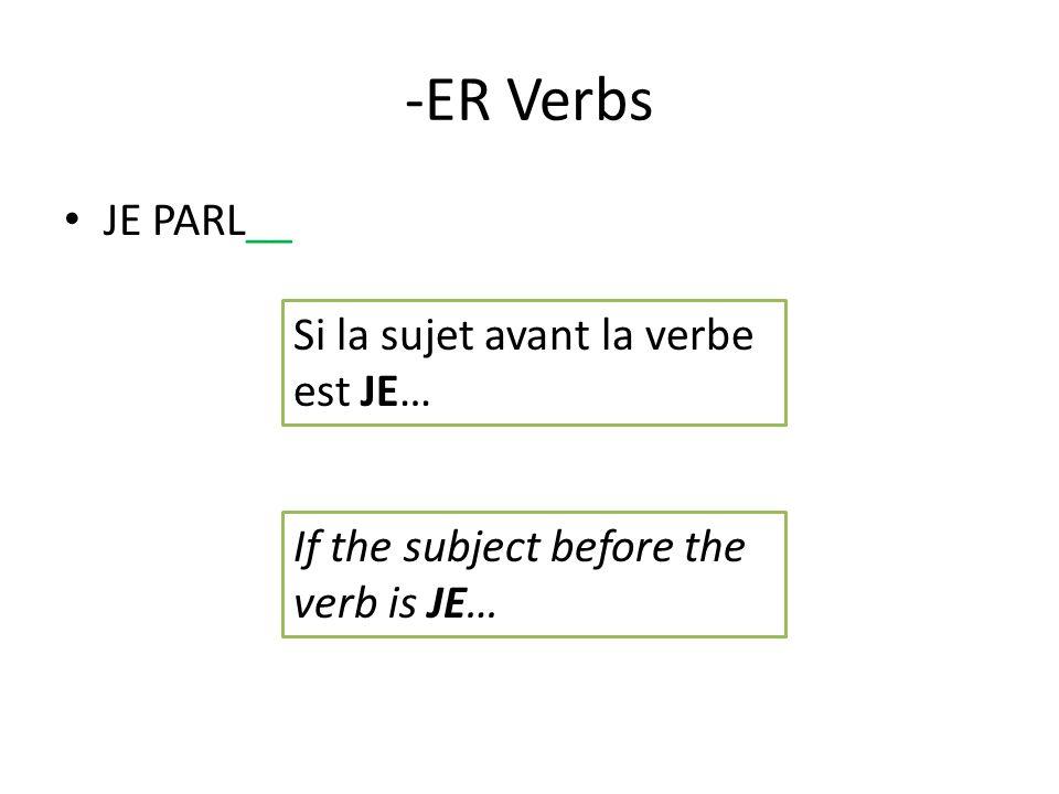 -ER Verbs JE PARL__ Si la sujet avant la verbe est JE… If the subject before the verb is JE…