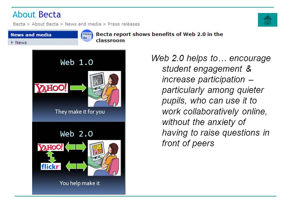 Web 2.0 helps to… encourage student engagement & increase participation – particularly among quieter pupils, who can use it to work collaboratively online, without the anxiety of having to raise questions in front of peers