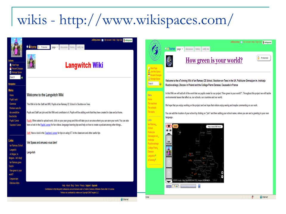 wikis - http://www.wikispaces.com/