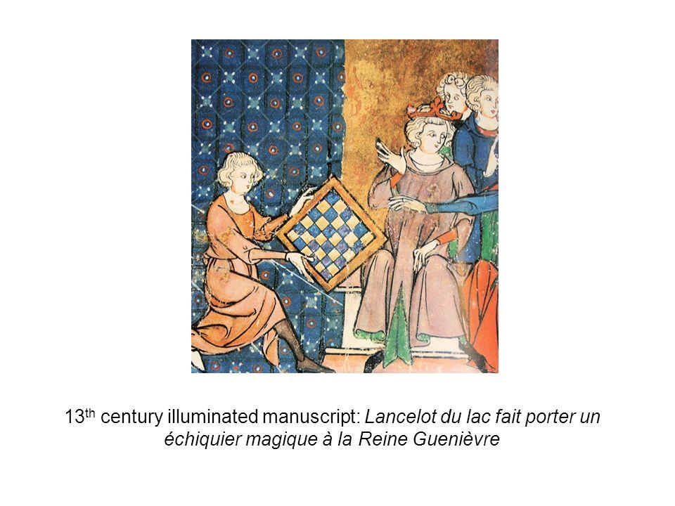 13 th century illuminated manuscript: Lancelot du lac fait porter un échiquier magique à la Reine Guenièvre