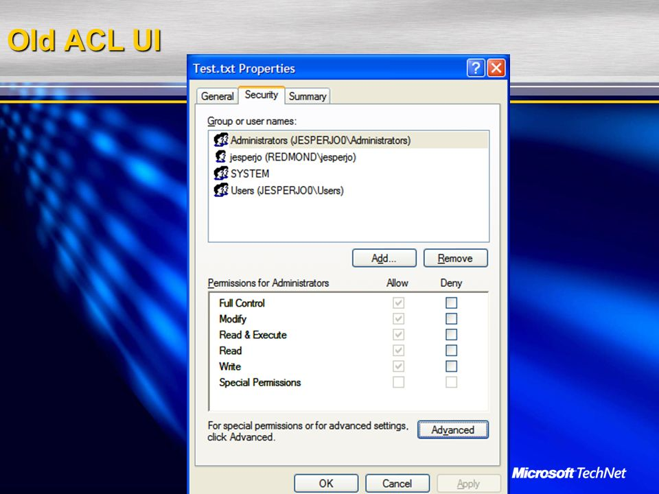 Old ACL UI