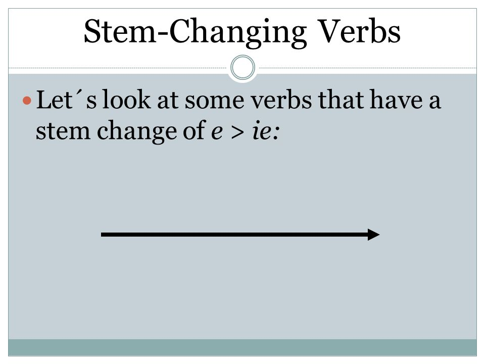 Stem-ChangingVerbs Stem-Changing Verbs Let´s look at some verbs that have a stem change of e > ie: