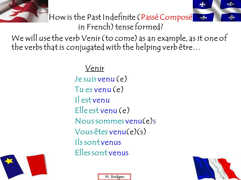 How is the Past Indefinite (Passé Composé in French) tense formed? We will use the verb Venir (to come) as an example, as it one of the verbs that is