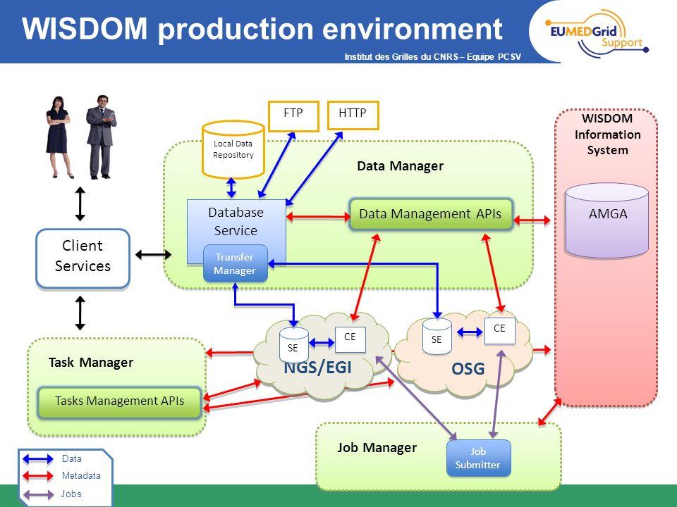 Institut des Grilles du CNRS – Equipe PCSV WISDOM production environment Fi le IS Bi o IS WISDOM Information System AMGA WISDOM Information System Cli