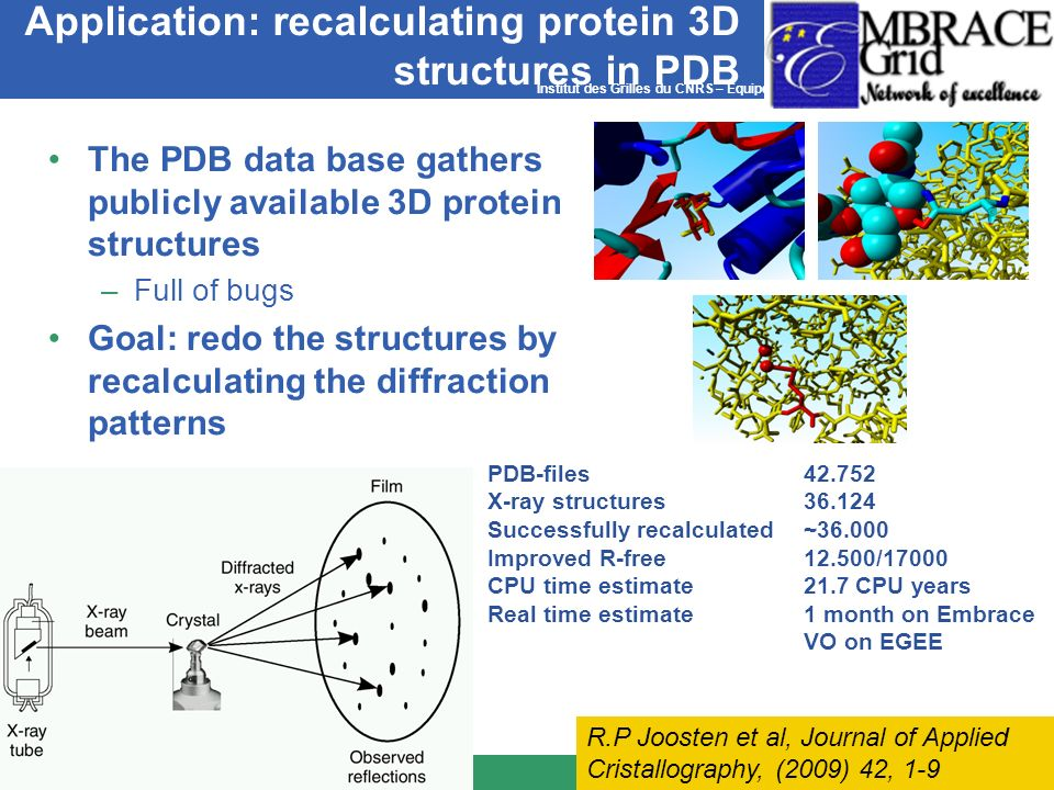 Institut des Grilles du CNRS – Equipe PCSV Application: recalculating protein 3D structures in PDB The PDB data base gathers publicly available 3D pro