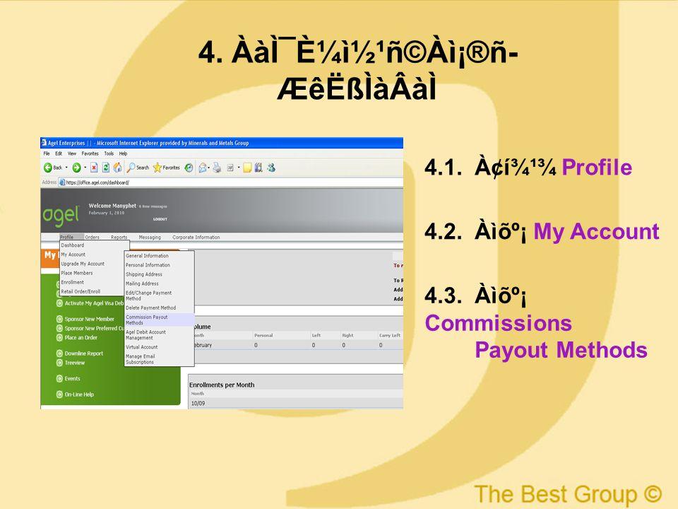 11 4. Àà̯ȼì½¹ñ©Àì¡®ñ ÆêËßÌàÂàÌ 4.1. À¢í¾¹¾ Profile 4.2. Àìõº¡ My Account 4.3. Àìõº¡ Commissions Payout Methods