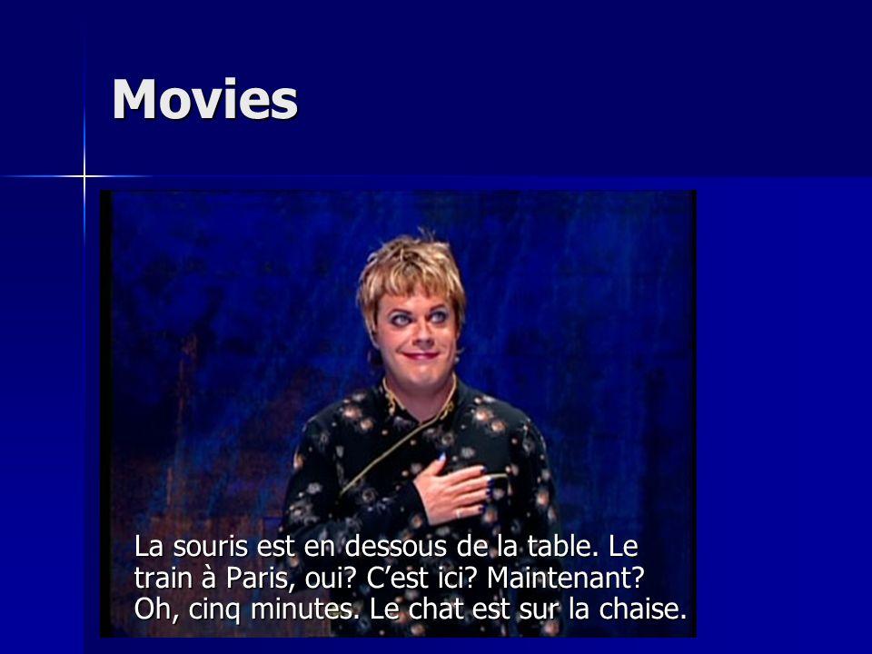 Movies La souris est en dessous de la table. Le train à Paris, oui.