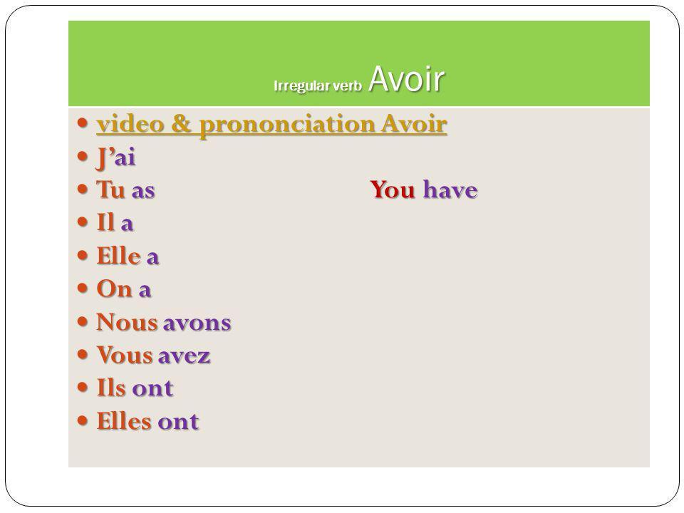 Irregular verb Être Video & prononciation Video & prononciation Video & prononciation Video & prononciation La conjugaison du verbe être Je suis I am
