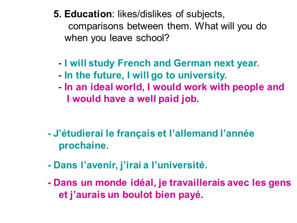 5. Education: likes/dislikes of subjects, comparisons between them. What will you do when you leave school? - I will study French and German next year