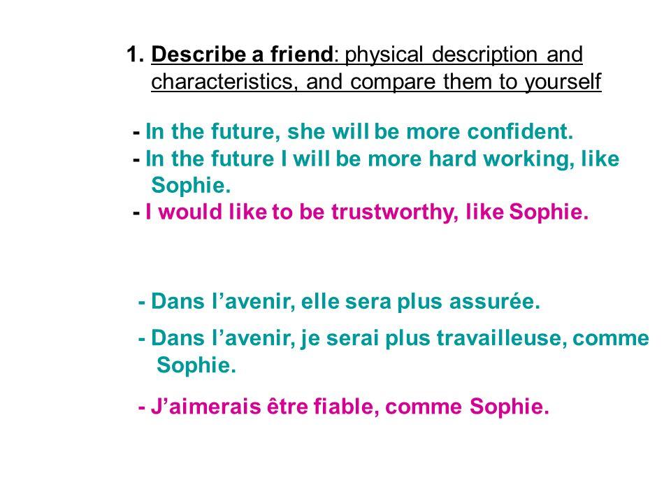 1.Describe a friend: physical description and characteristics, and compare them to yourself - Dans lavenir, elle sera plus assurée. - Dans lavenir, je