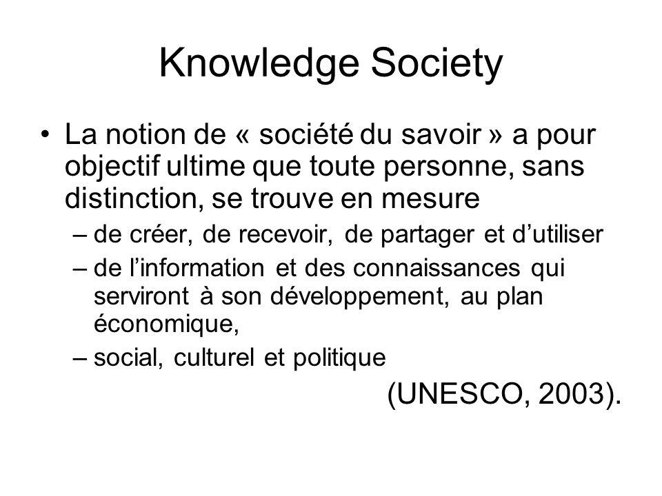 Knowledge Society La notion de « société du savoir » a pour objectif ultime que toute personne, sans distinction, se trouve en mesure –de créer, de re