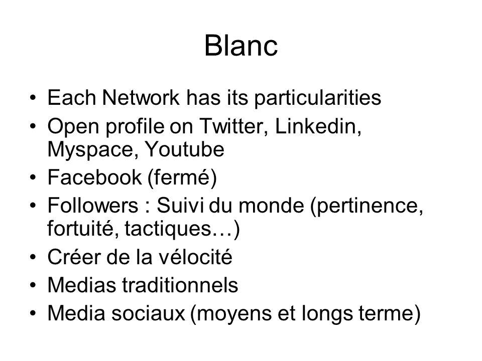 Blanc Each Network has its particularities Open profile on Twitter, Linkedin, Myspace, Youtube Facebook (fermé) Followers : Suivi du monde (pertinence