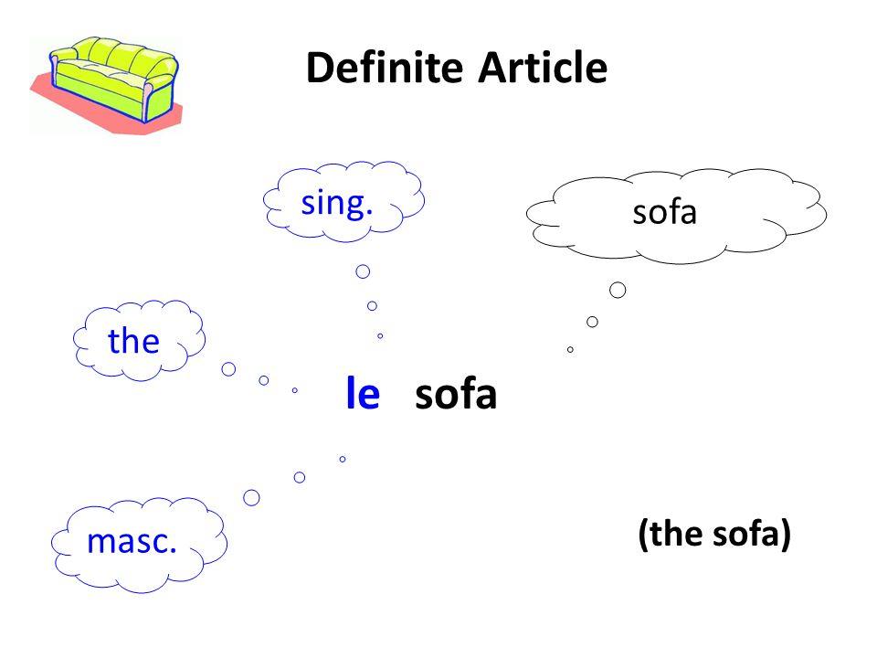 Definite Article sing. the sofa le sofa masc. (the sofa)