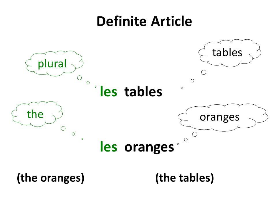 Definite Article plural the les tables les oranges (the oranges) (the tables) tables oranges