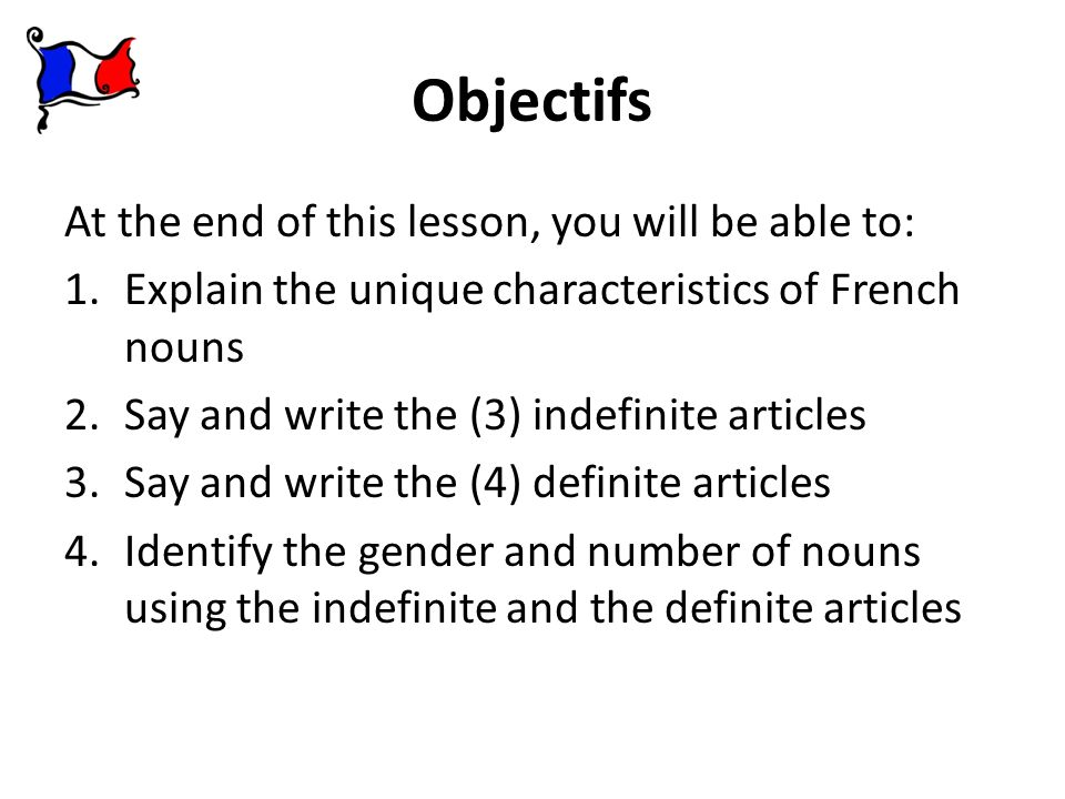 Objectifs At the end of this lesson, you will be able to: 1.Explain the unique characteristics of French nouns 2.Say and write the (3) indefinite arti