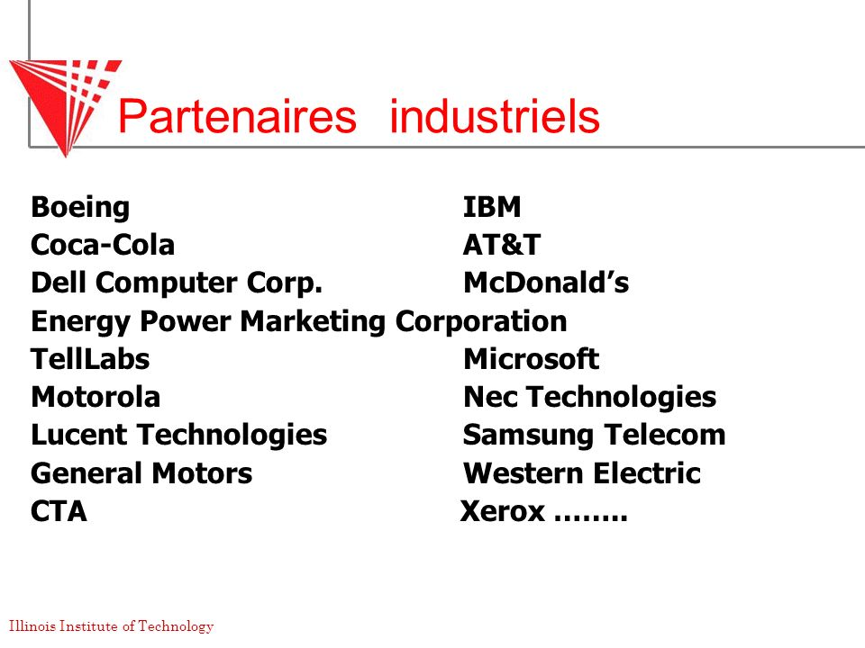 Illinois Institute of Technology Partenaires industriels BoeingIBM Coca-ColaAT&T Dell Computer Corp.McDonalds Energy Power Marketing Corporation TellL