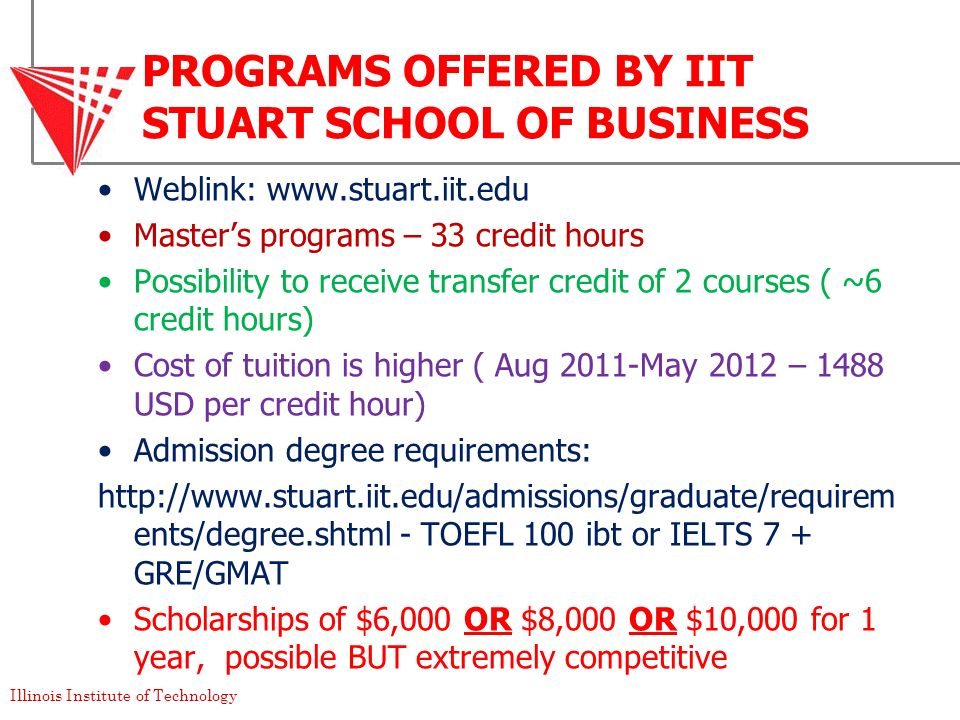 Illinois Institute of Technology PROGRAMS OFFERED BY IIT STUART SCHOOL OF BUSINESS Weblink: www.stuart.iit.edu Masters programs – 33 credit hours Poss