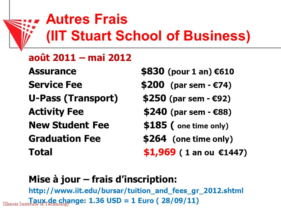 Illinois Institute of Technology Autres Frais (IIT Stuart School of Business) août 2011 – mai 2012 Assurance$830 (pour 1 an) 610 Service Fee$200 (par