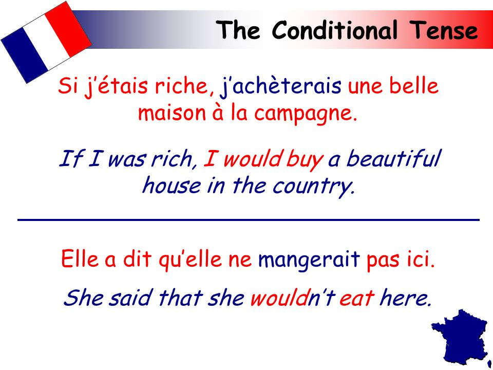 The Conditional Tense The conditional tense is used to say what would or wouldnt happen.