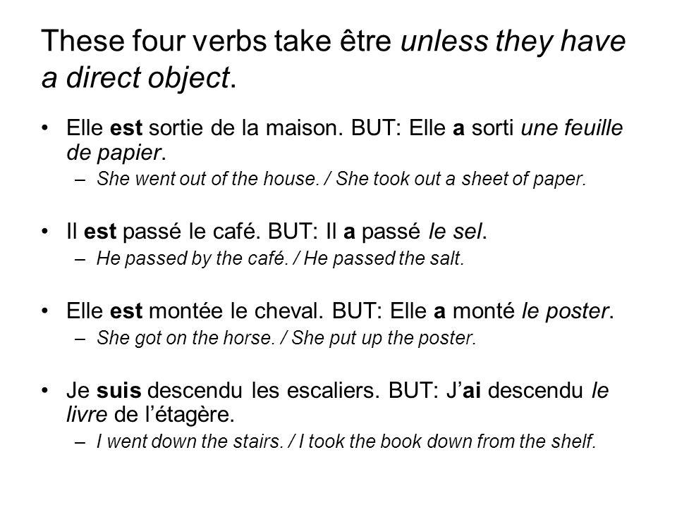 These four verbs take être unless they have a direct object. Elle est sortie de la maison. BUT: Elle a sorti une feuille de papier. –She went out of t